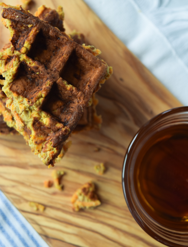Yummy Sweet Potato Waffles - Cinnamon and nutmeg in this delicious sweet potato waffles recipe! Drizzle with syrup or peanut butter. - ProjectMealPlan.com