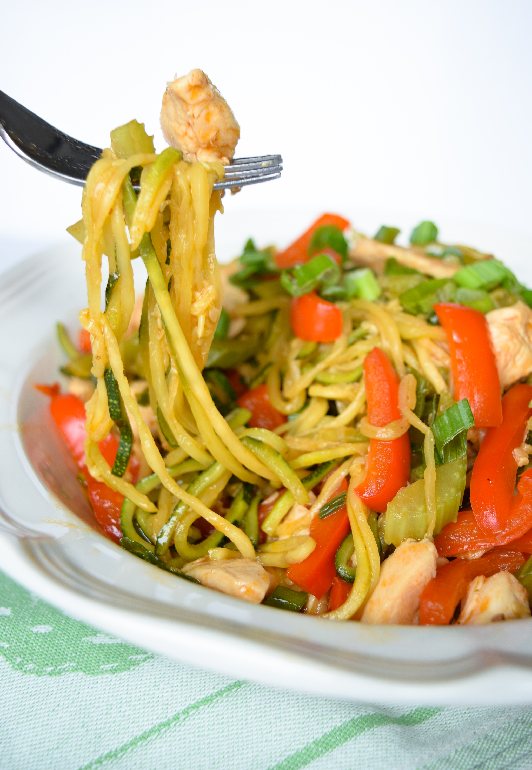 A noodle inspired dish made with zucchini noodles and juicy chicken breast. This Zucchini Chicken
