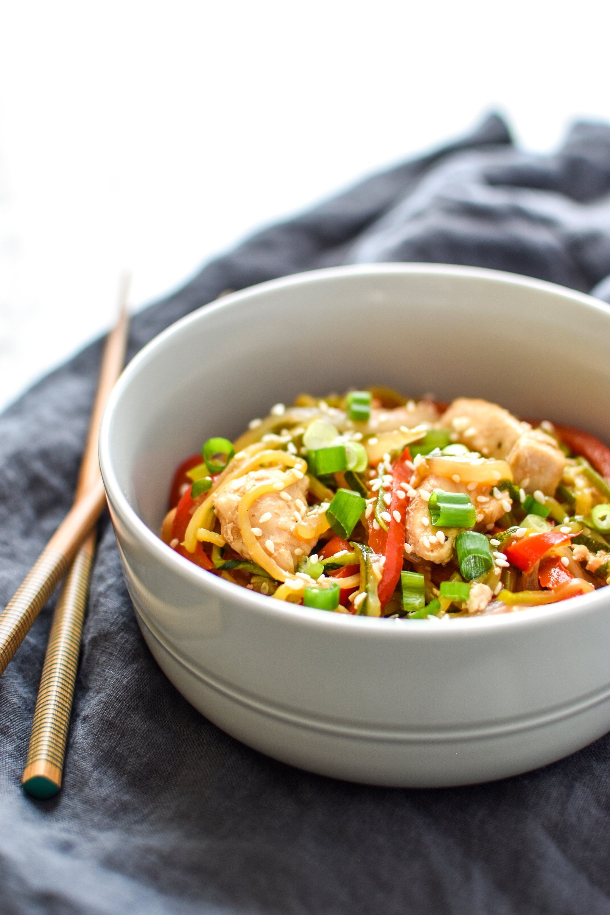 """Zucchini Chicken """"Lo Mein"""" - A noodle inspired dish made with zucchini noodles and juicy chicken breast. This Zucchini Chicken """"Lo Mein"""" will satisfy your pasta and take-out cravings! - ProjectMealPlan.com"""