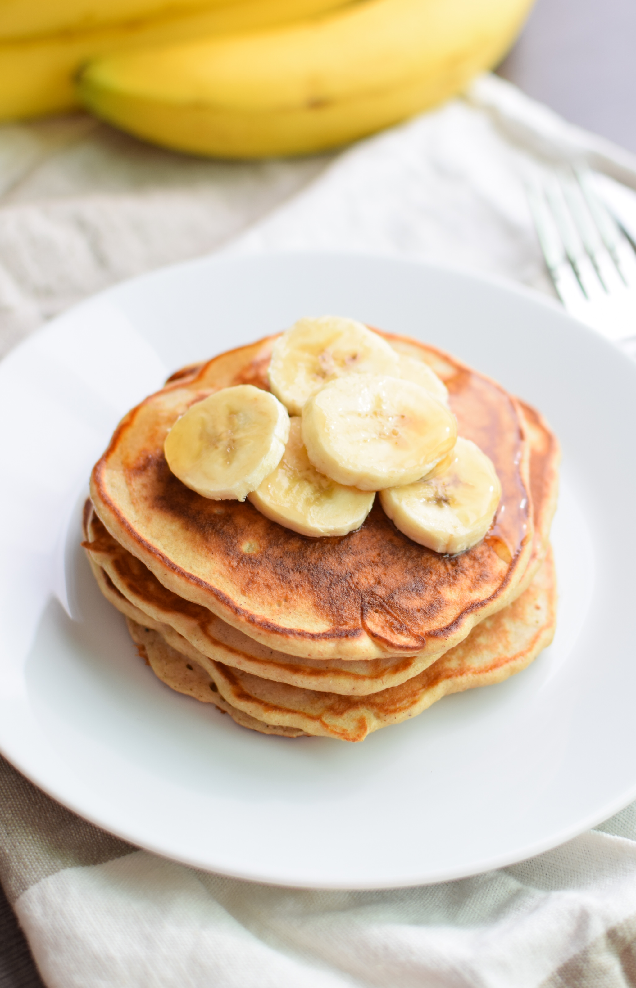 Banana Protein Pancakes Recipe - Delicious, healthy way to eat cake for breakfast! With a little extra protein :) - ProjectMealPlan.com