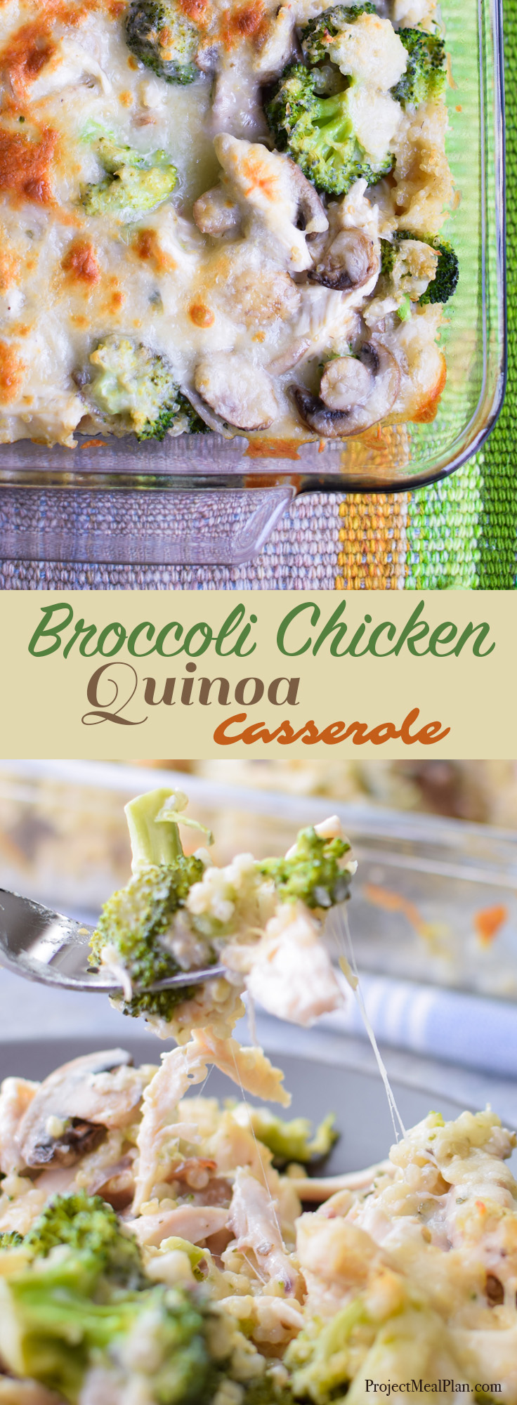 broccoli chicken quinoa casserole recipe - yummy creamy casserole made with rice cooker quinoa, rotisserie chicken and more! - Projectmealplan.com