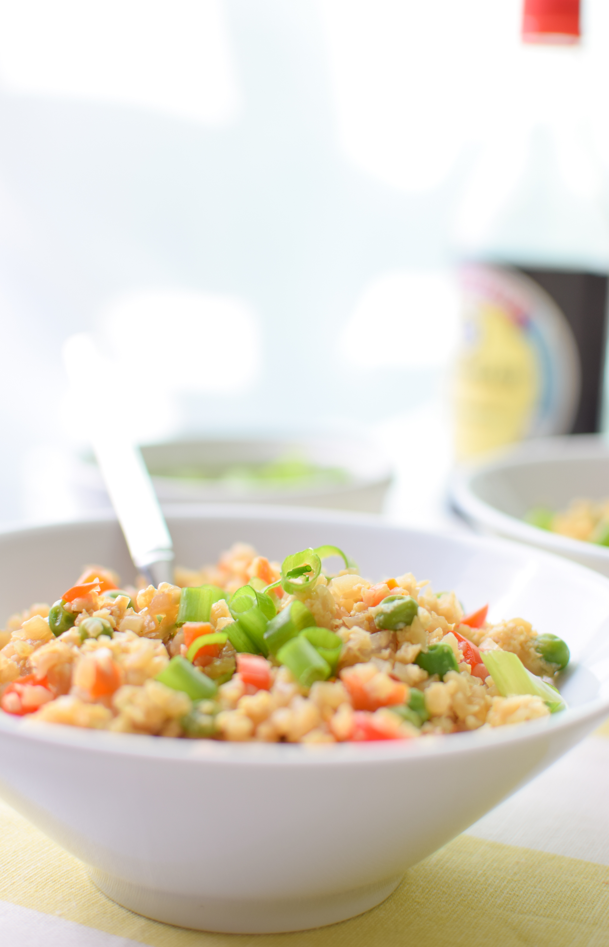 "Fried Cauliflower Rice Recipe - Super healthy takeout style fried ""rice"", made with cauliflower! Packed with veggies and easy to personalize. - ProjectMealPlan.com"