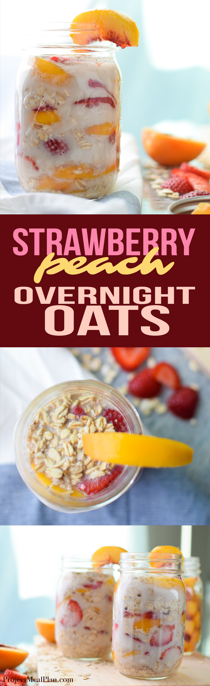 Strawberry Peach Overnight Oats Recipe - Pull this super tasty treat out of the fridge in the morning for some filling oats, strawberries and peaches in almond milk! Sooo creamy! - ProjectMealPlan.com
