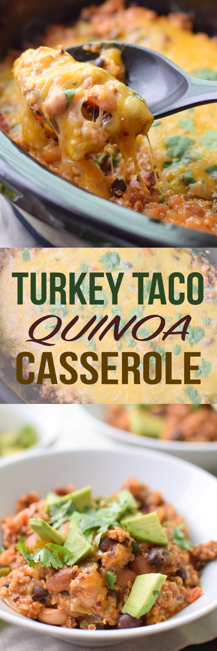 Turkey Taco Quinoa Casserole recipe - Main dish meal with ground turkey, quinoa, beans, peppers, in a yummy taco sauce smothered in cheese! - ProjectMealPlan.com