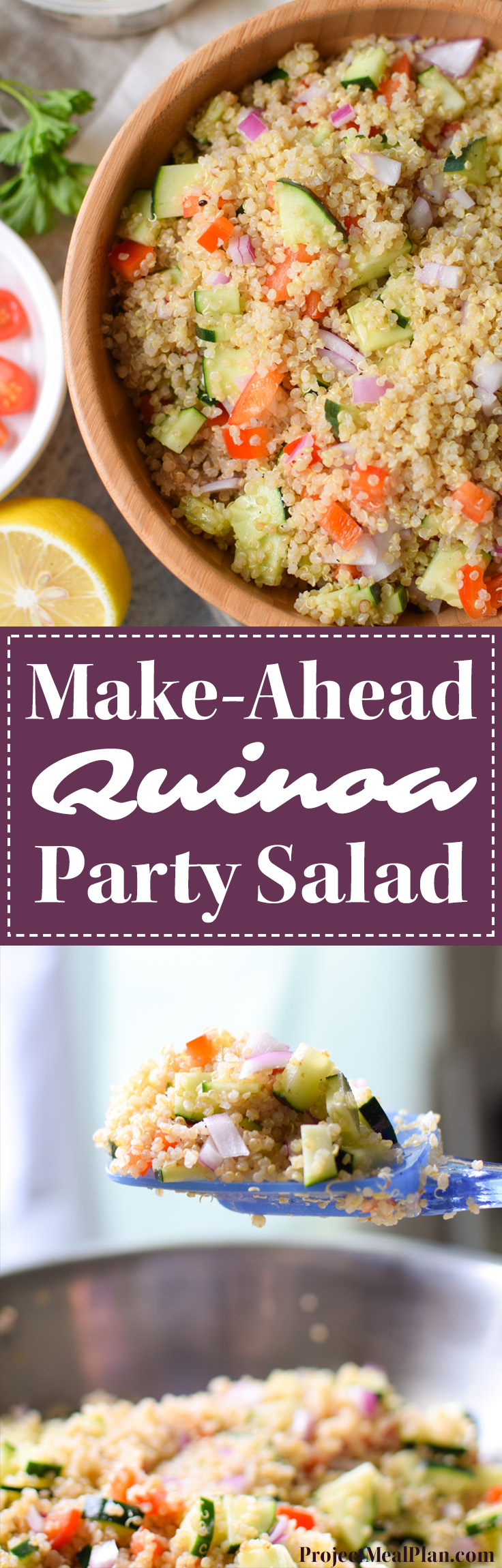 Make-Ahead Quinoa Party Salad - Easy recipe for a light Greek-inspired salad with cucumbers, peppers and onions. YUM. - ProjectMealPlan.com