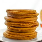 Pumpkin Pie Greek Yogurt Pancakes - Moist and delicious fall breakfast treat! Make-ahead and fridge friendly! - ProjectMealPlan.com