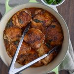 Hot Basil Coconut Braised Chicken Thighs - Incredibly delicious braised chicken thighs packing some heat with coconut and basil! YUM! - ProjectMealPlan.com