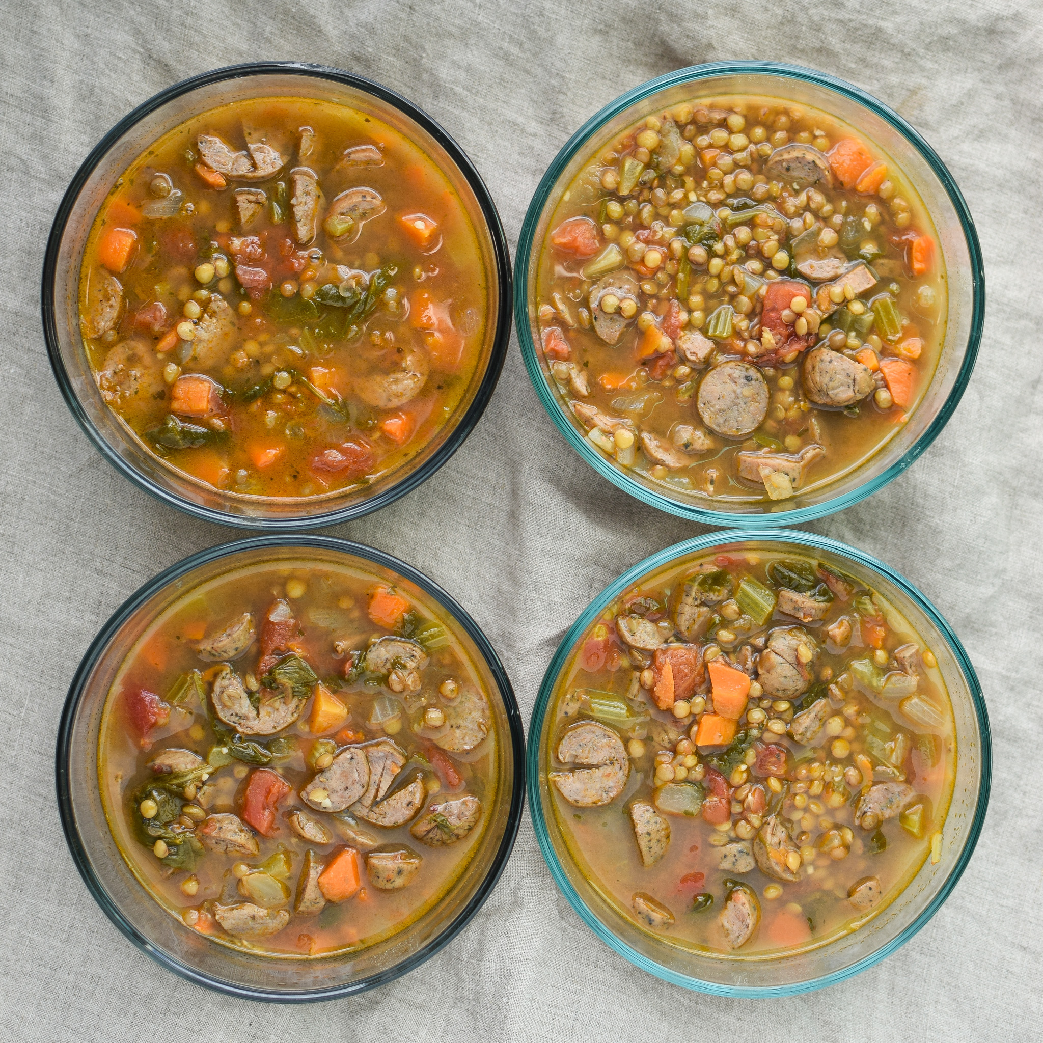 Vegetable & Chicken Sausage Lentil Soup recipe - Simple, hearty and delicious fall soup that will make your home smell amazing on any week night! ProjectMealPlan.com