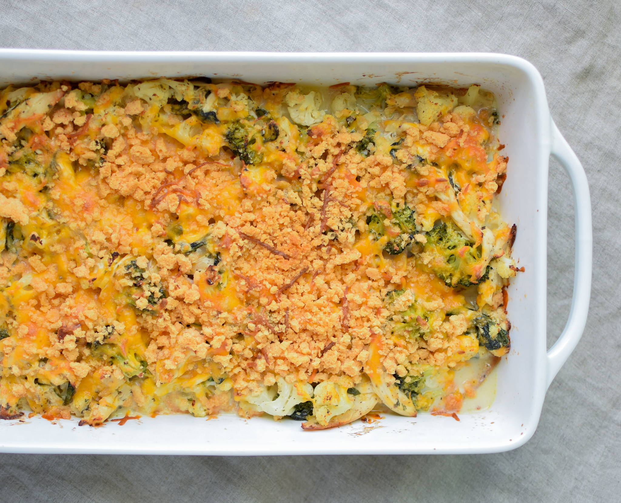 Veggie Loaded Rotisserie Chicken Casserole recipe - Delicious juicy chicken baked with broccoli, cauliflower, spinach, greek yogurt and more! Healthy and easy, from ProjectMealPlan.com