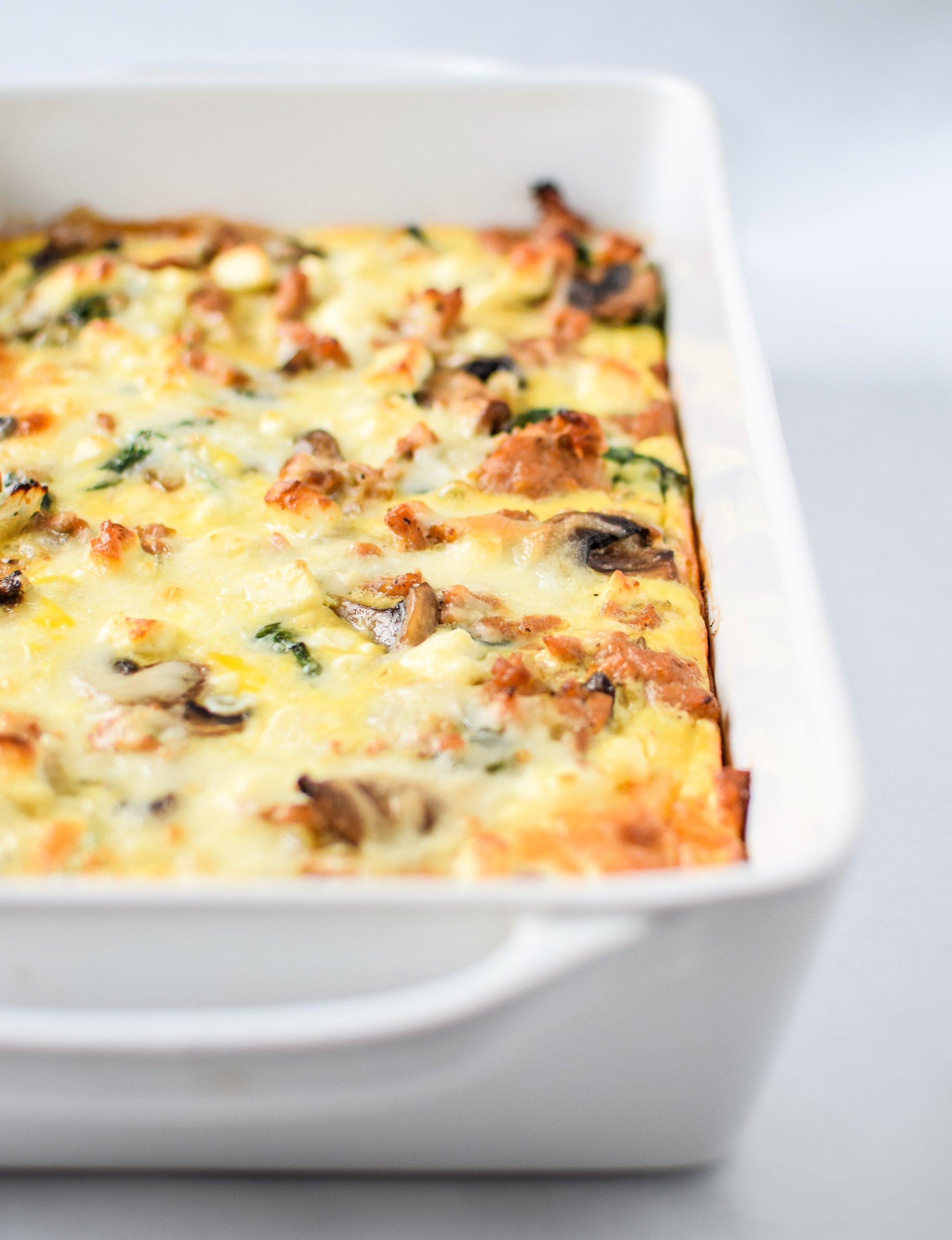 Spinach Feta Chicken Sausage Breakfast Casserole with ...