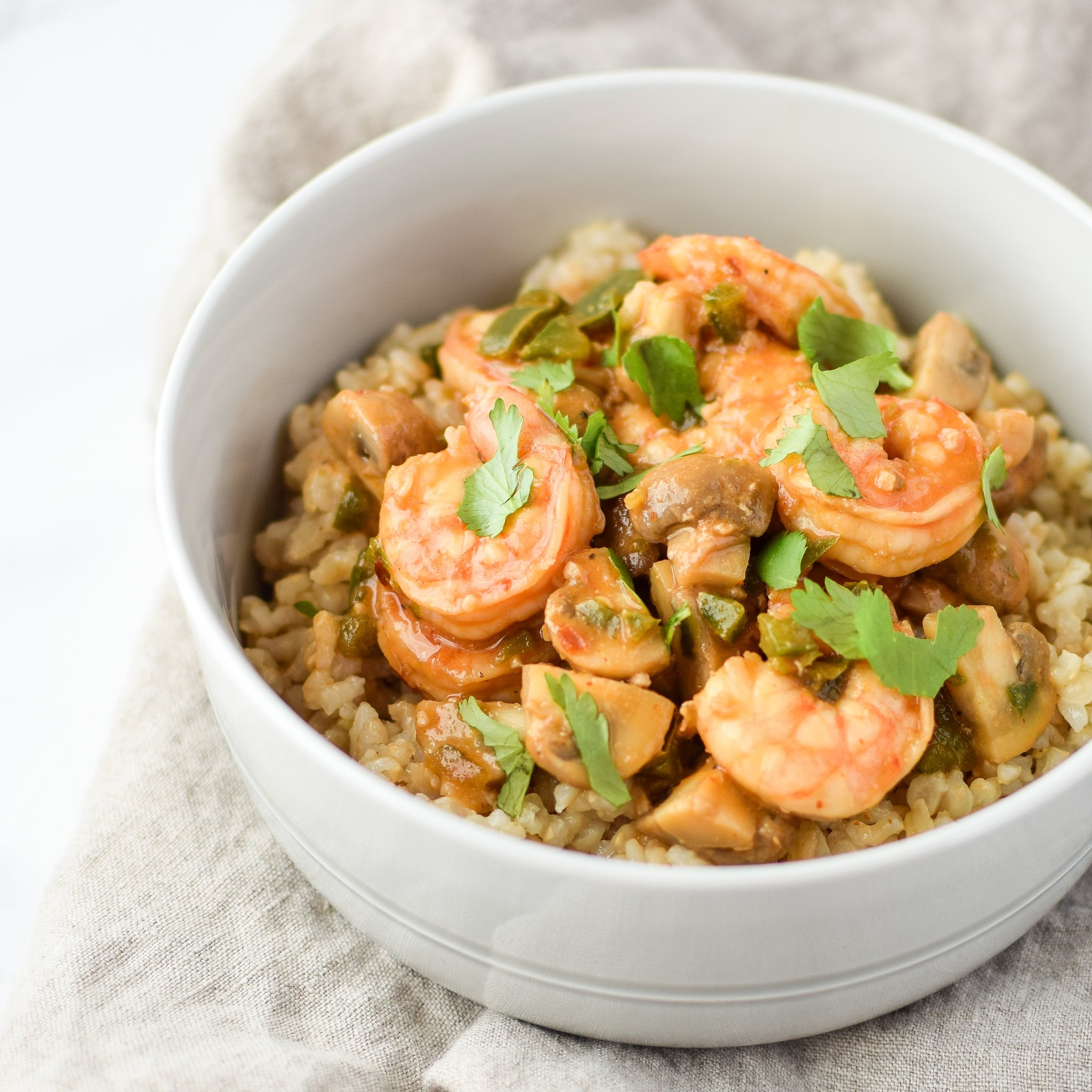 Easy Jalapeño Mushroom Shrimp Stir-Fry For Two recipe - An easy weeknight one-pot meal! Spicy and delicious, and no added corn starch! - ProjectMealPlan.com