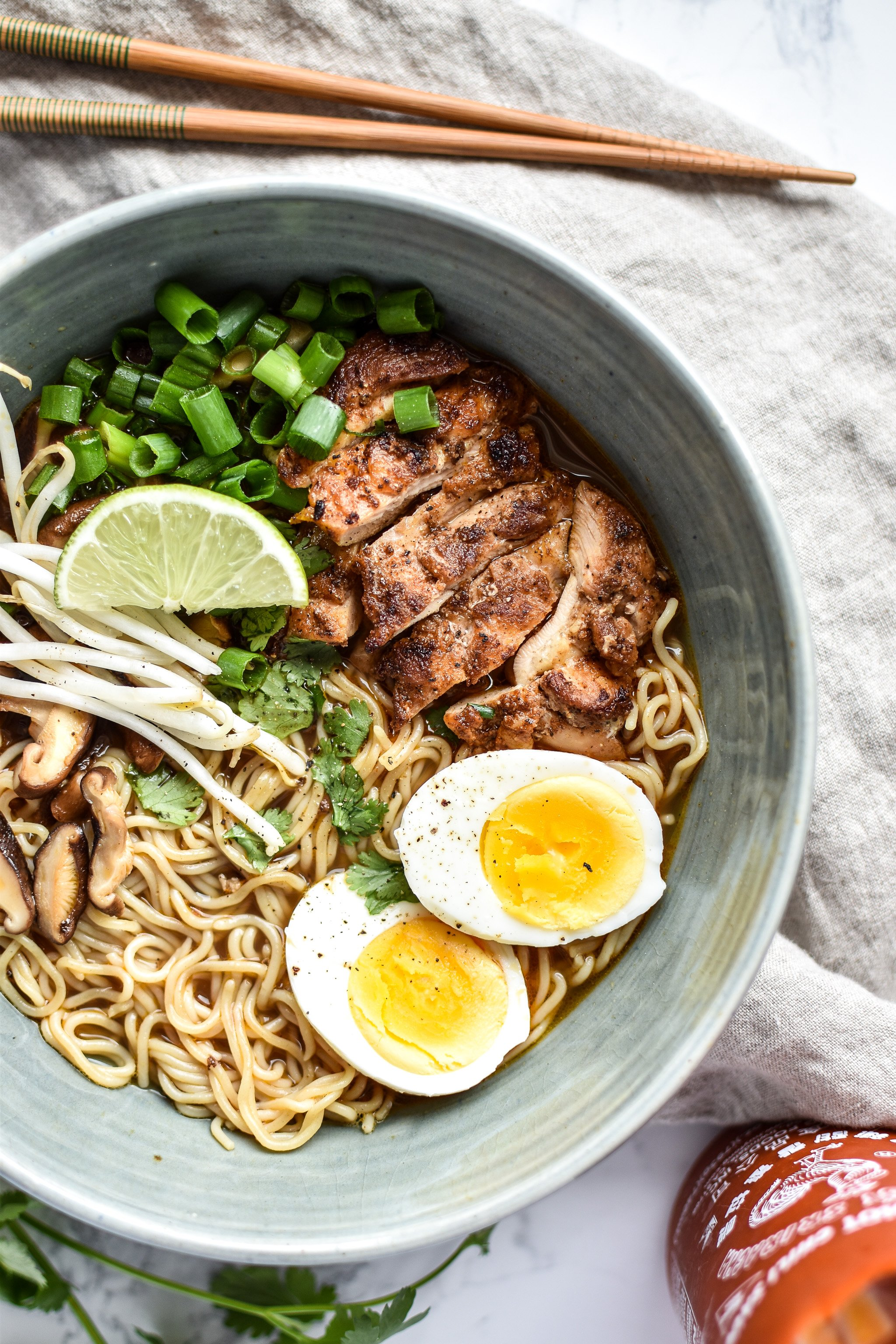Simple Shiitake Mushroom Chicken Ramen recipe - I use chicken bone broth and brown rice ramen for this easy homemade noodle soup! - ProjectMealPlan.com