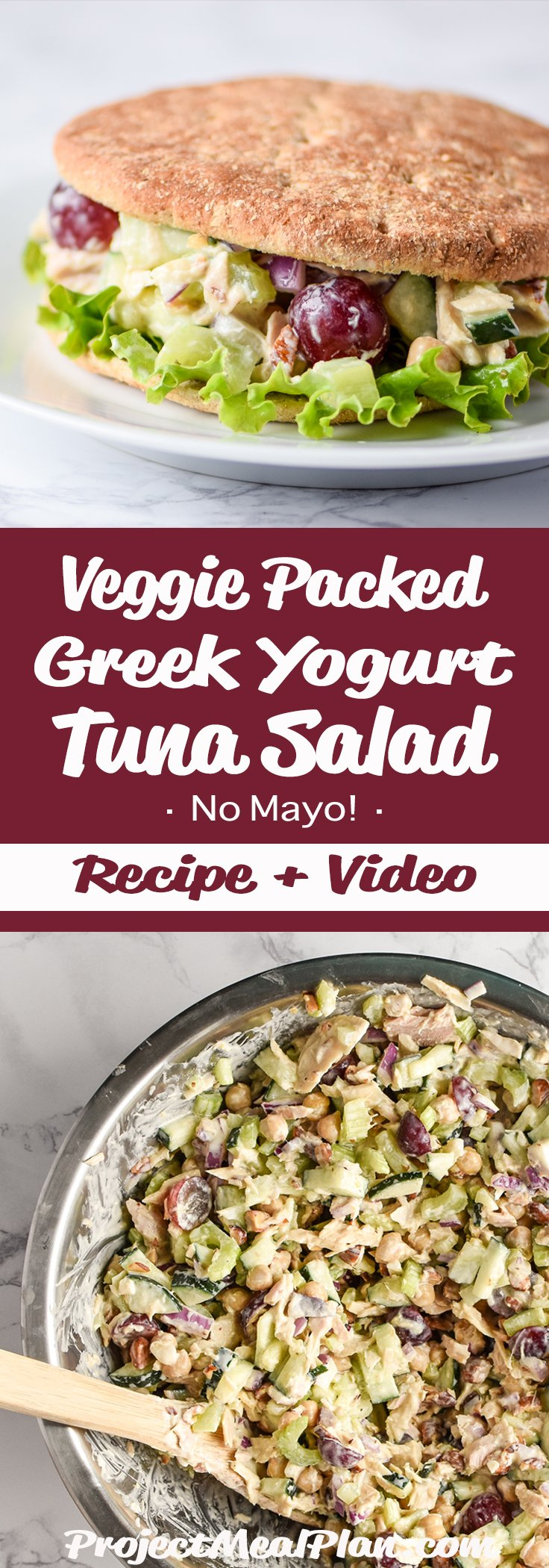 Veggie-Packed Greek Yogurt Tuna Salad (No-Mayo!) recipe - Full of tuna, chickpeas, and greek yogurt for a high protein make-ahead lunch! - ProjectMealPlan.com