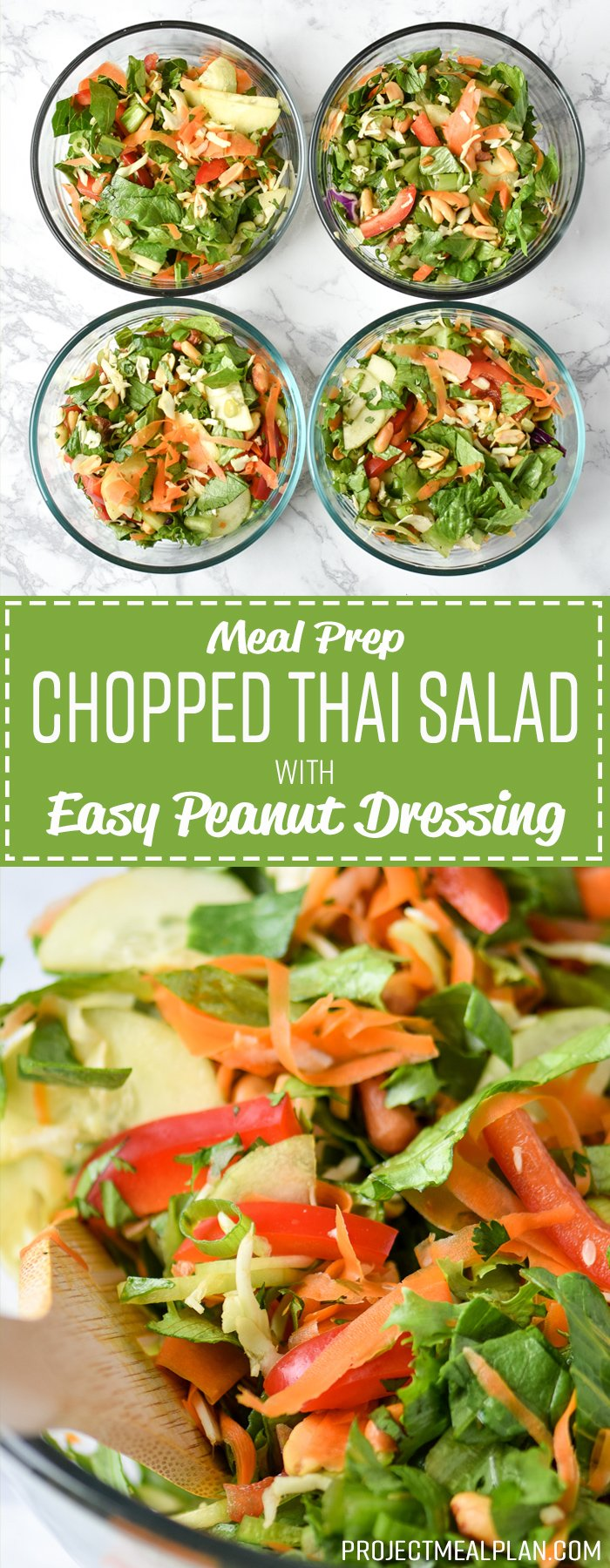 Meal Prep Chopped Thai Salad with Easy Peanut Dressing - Simple Thai-inspired chopped salad with a creamy peanut dressing recipe - Perfect for meal prep! - ProjectMealPlan.com