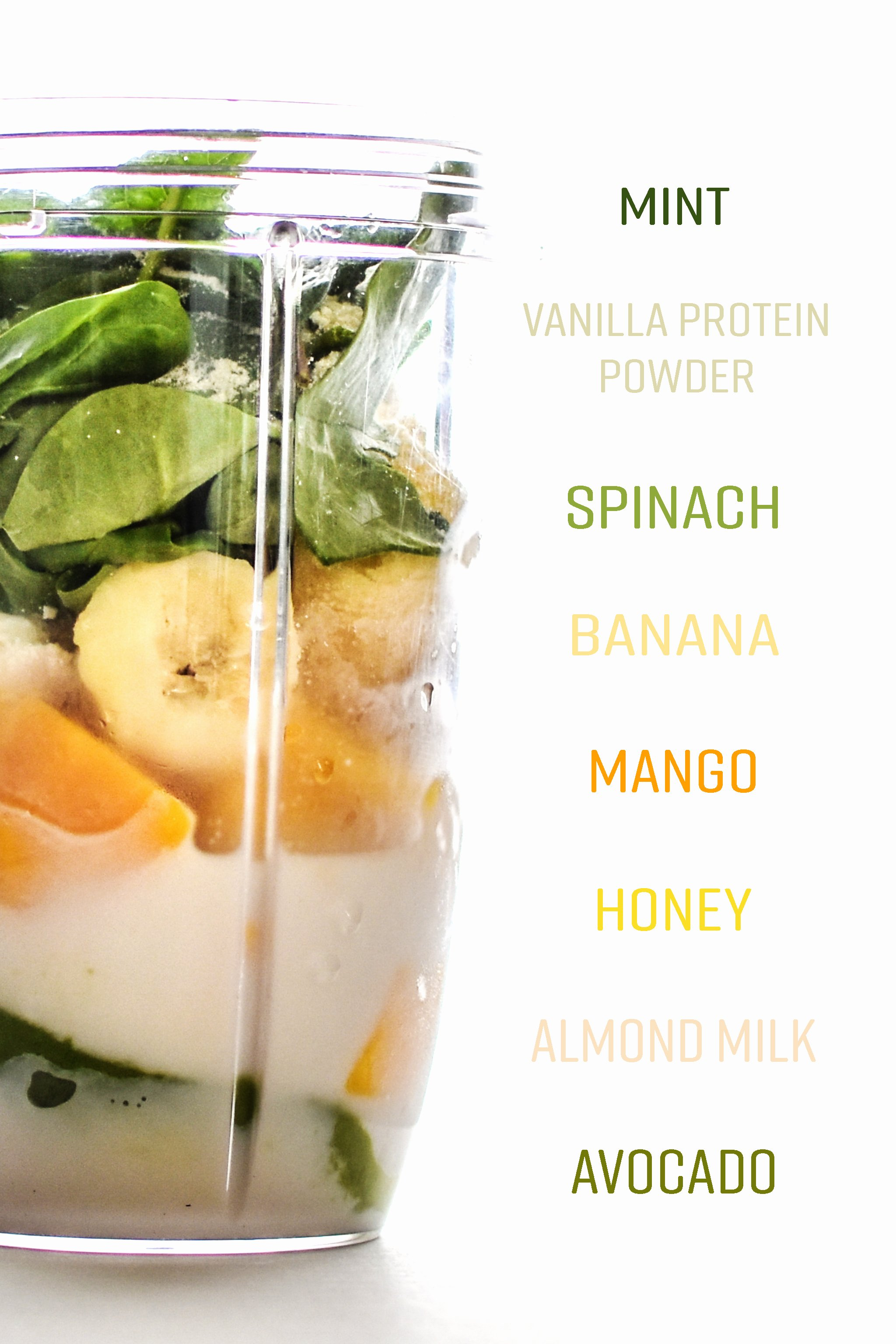 Creamy Avocado Mint Green Smoothie Recipe - Overflowing with fruits, veggies, and fresh minty goodness, like a summer shamrock shake! - ProjectMealPlan.com