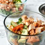 Meal Prep Chopped Thai Chicken Salad with Easy Peanut Dressing - Simple Thai-inspired chopped salad with a creamy peanut dressing recipe - Perfect for meal prep! - ProjectMealPlan.com