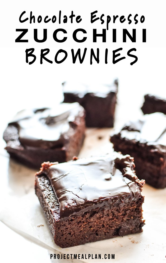 Chocolate Espresso Zucchini Brownies recipe - Gooey chocolate mocha goodness, with fresh zucchini blended right in! - ProjectMealPlan.com