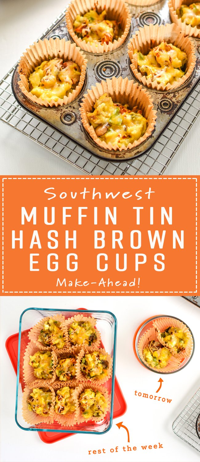 TheseSouthwest Muffin Tin Hash Brown Egg Cups are perfect for your breakfast meal prep! Southwest hash browns with veggies, cheese, scrambled eggs, and a tiny dose of chipotle Tabasco! - ProjectMealPlan.com