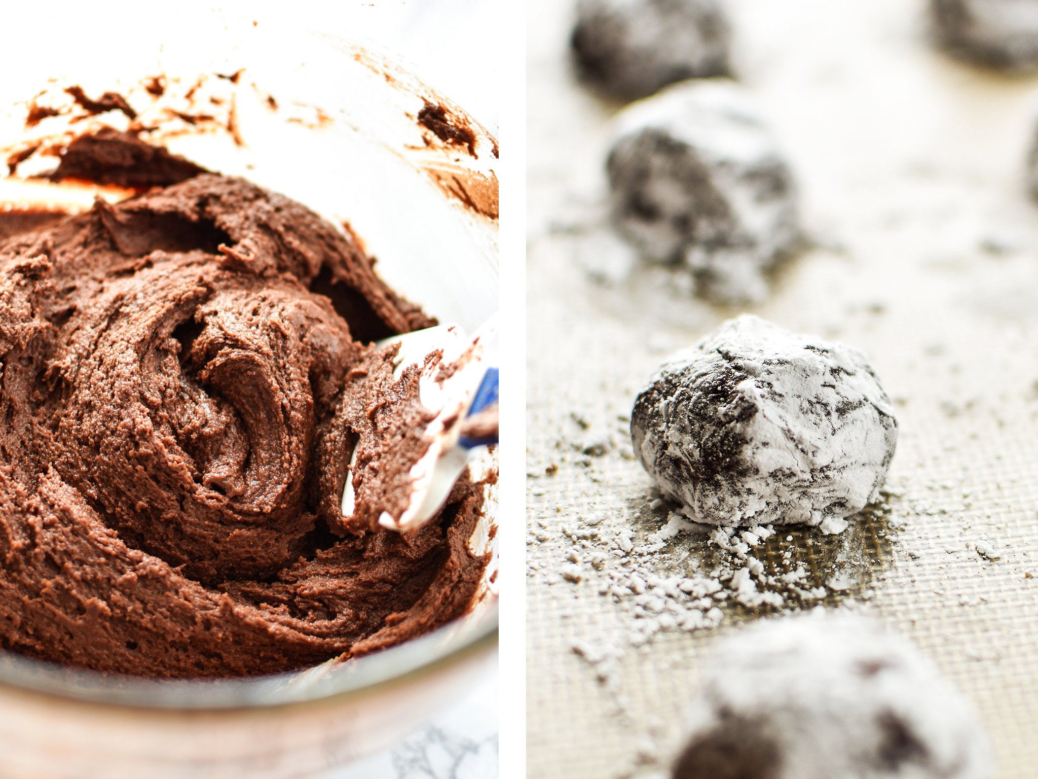 Batter in a bowl and cookie dough rolled in powdered sugar.