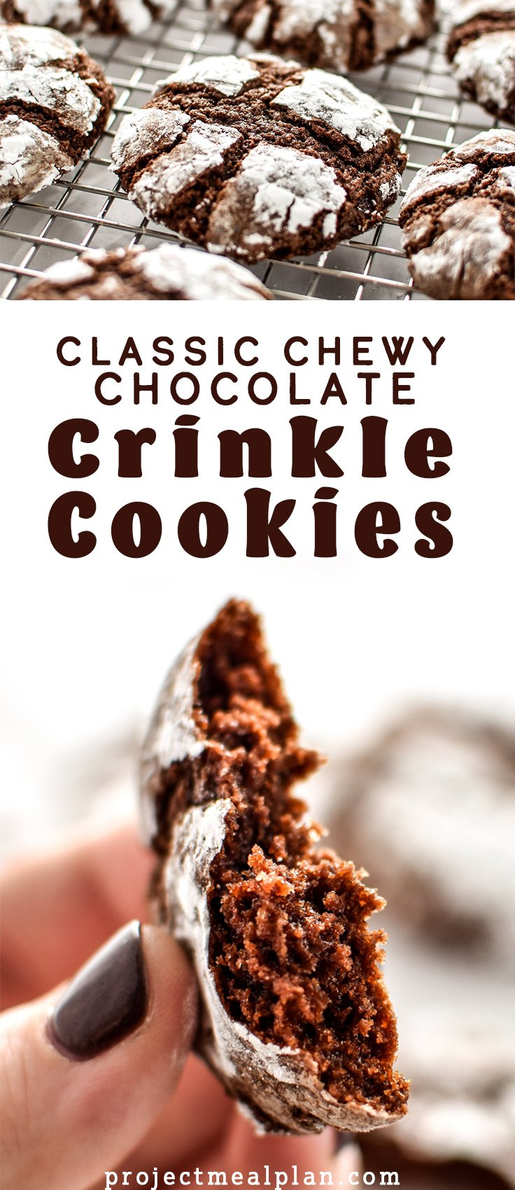 Long pin Pinterest image for Classic Chewy Chocolate Crinkle Cookies featuring two photos and a title.