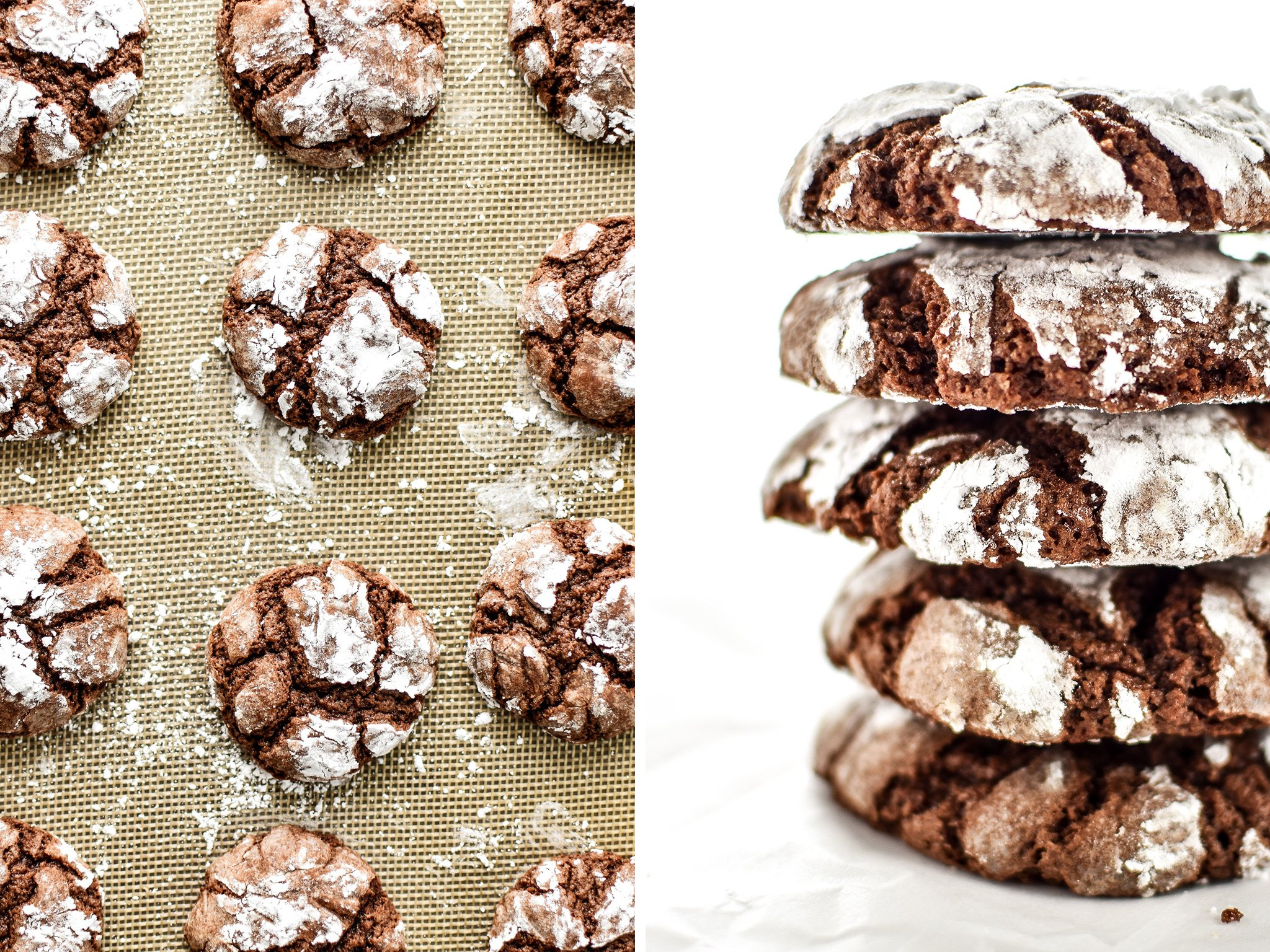 Classic Chewy Chocolate Crinkle Cookies - The chewiest, fudgiest, softest cookies that are rolled in powdered sugar and perfect for the holidays! - ProjectMealPlan.com