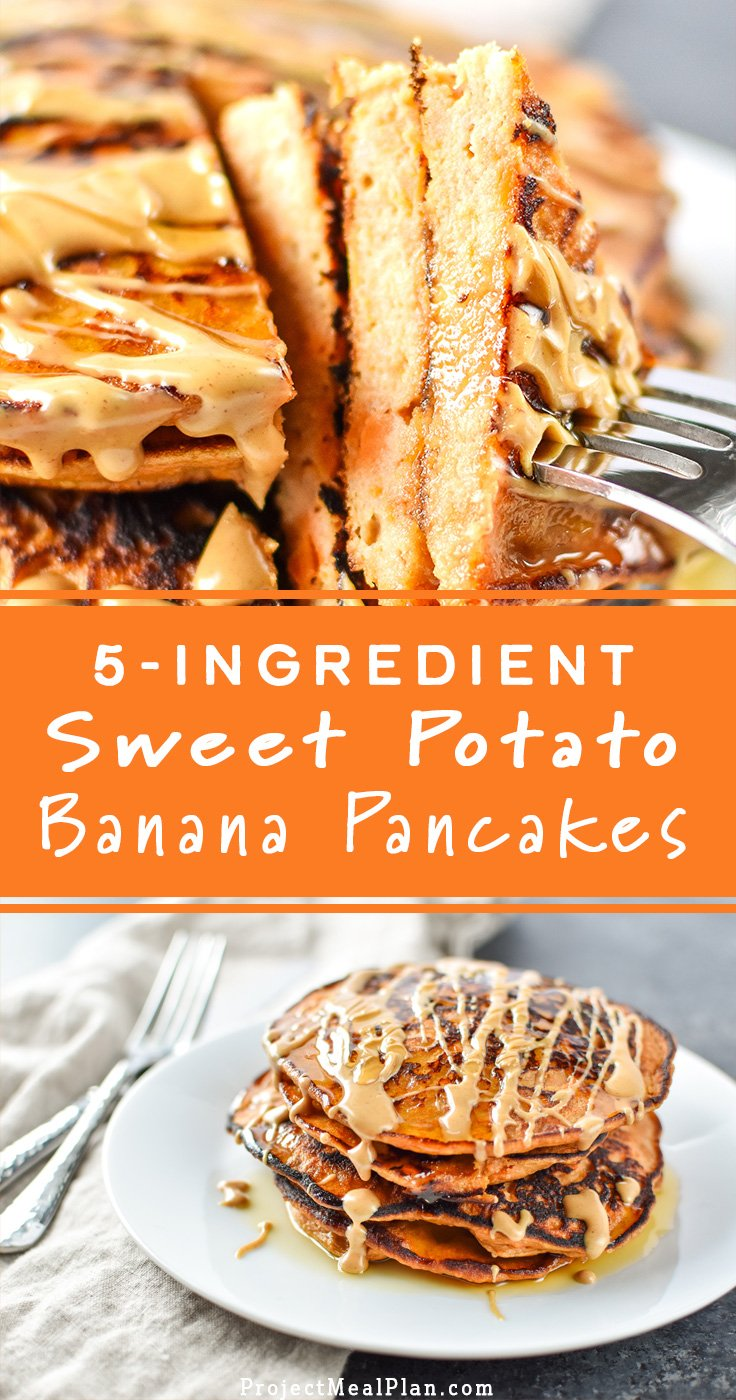 5-Ingredient Sweet Potato Banana Pancakes - Banana, sweet potato, nut butter, eggs and cinnamon are all you need to make these simple pancakes happen. #sweetpotato #pancakes #bananapancakes - ProjectMealPlan.com
