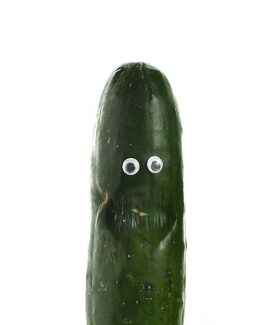 A cucumber with a little imperfection and googly eyes! Imperfect Produce is the best way to reduce food waste.