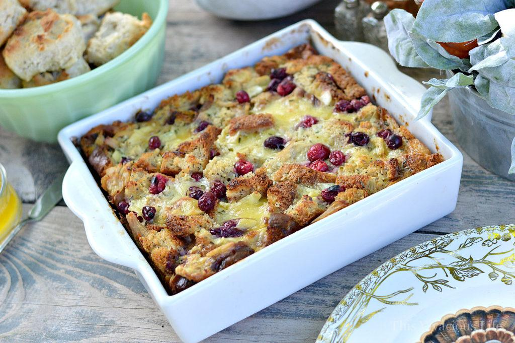 12 Ways to Turn Thanksgiving Leftovers Into Glorious Breakfast Food - Check out some great ideas to help you turn all those delicious leftovers into breakfast! Bread pudding ready to be served by This Vivacious Life.