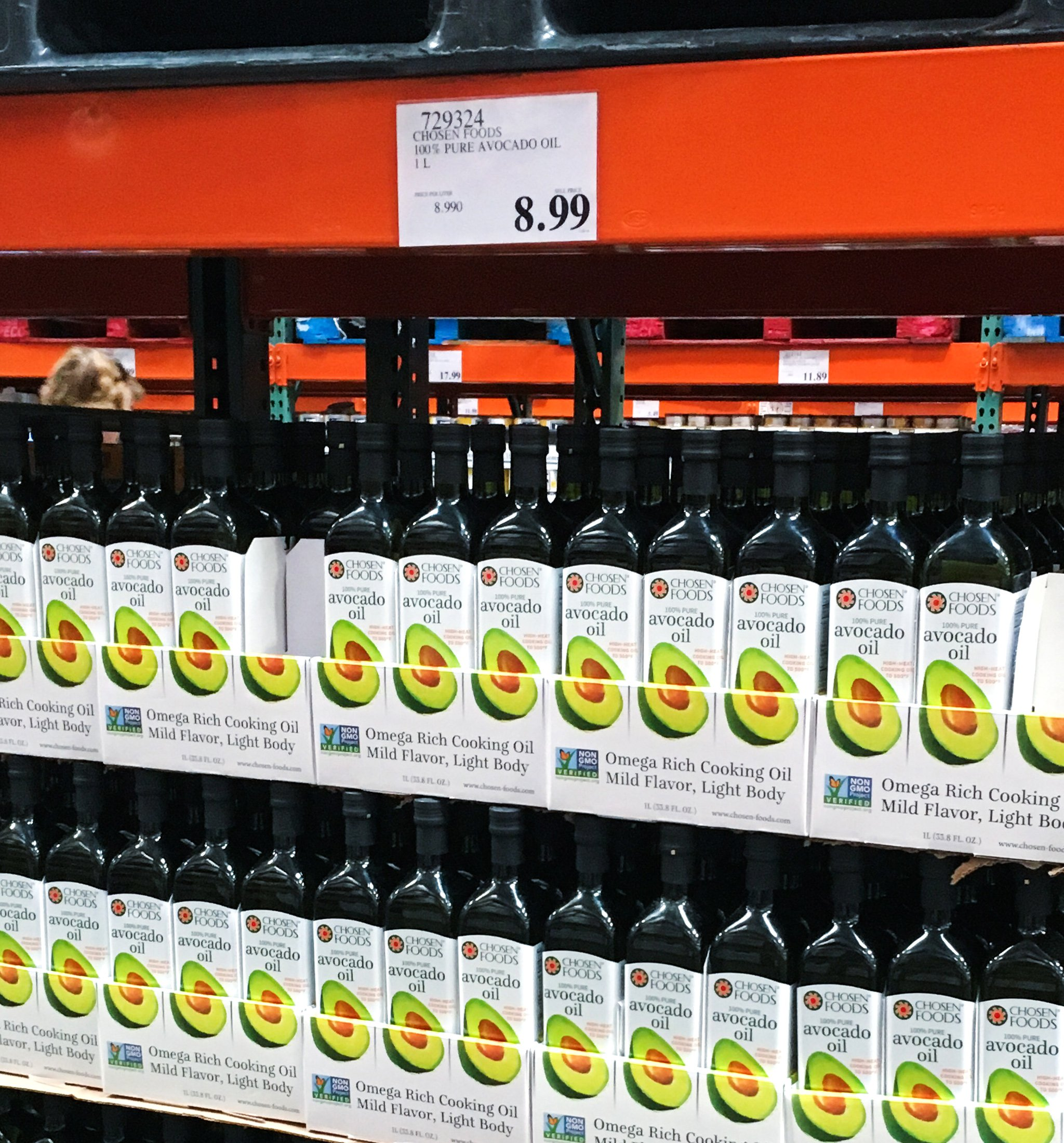 Boxes of bottles of avocado oil for sale at Costco - buying in bulk is one of the 12 Tips to Help You Master Your Weekly Meal Prep Routine