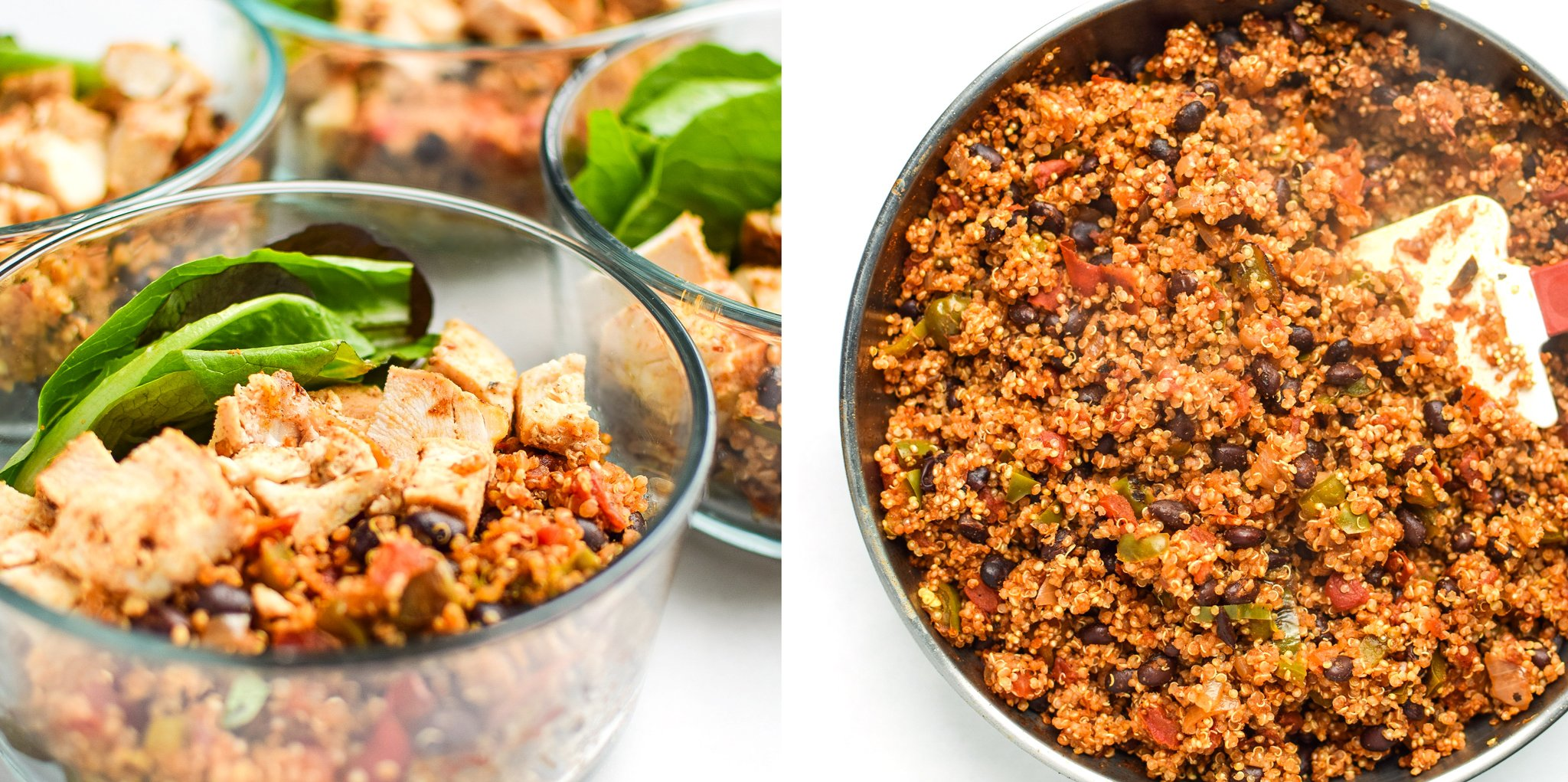 mexican quinoa chicken salad lunch bowls portioned in pyrex and made in a skillet