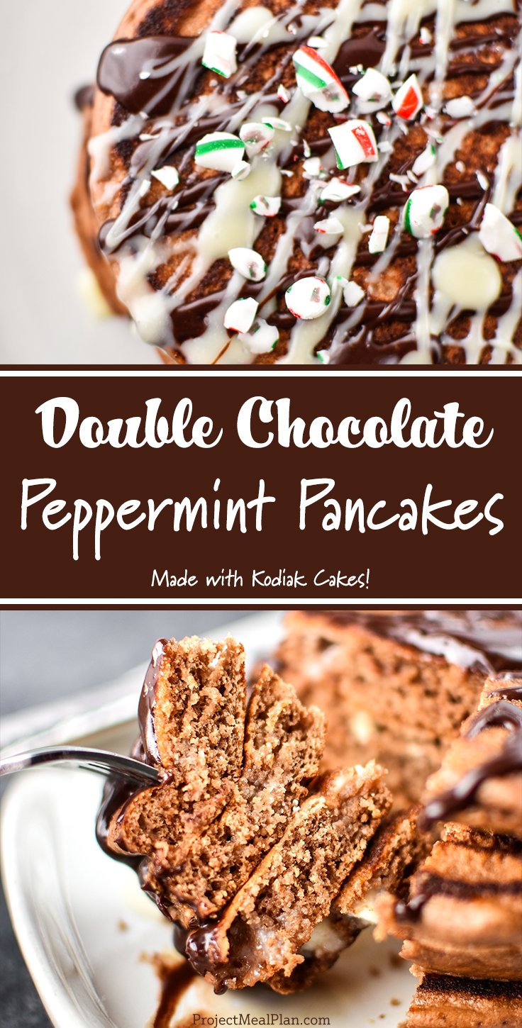 Pancakes being drizzled with chocolate with text, Double Chocolate Peppermint Pancakes