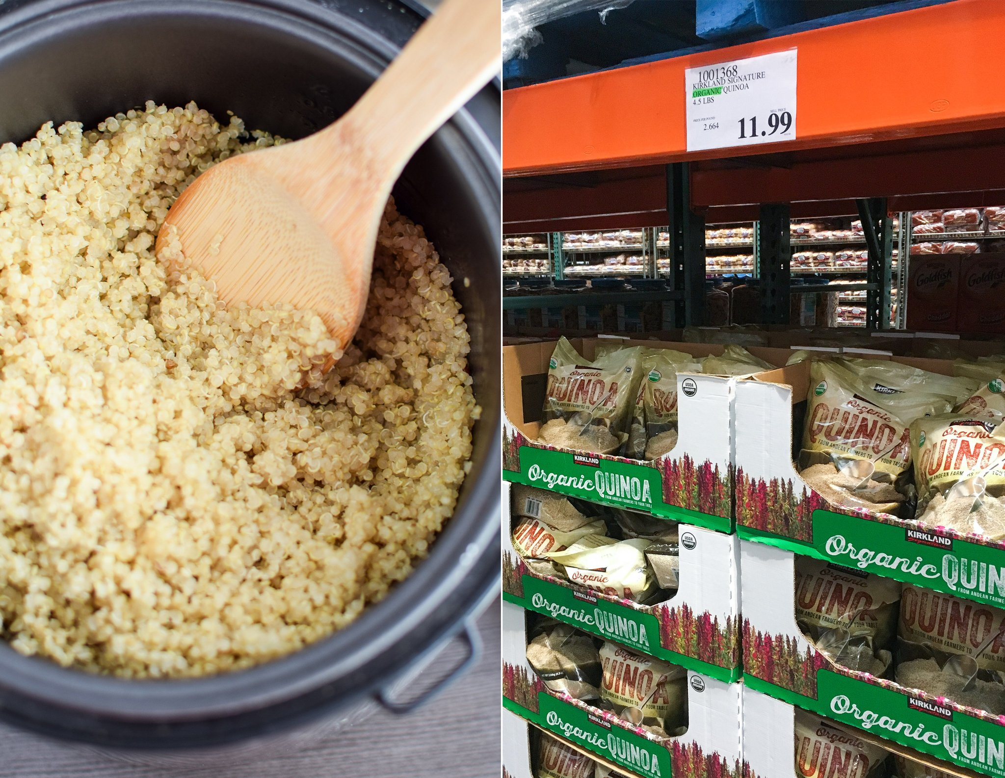 quinoa being made in a rice cooker and quinoa on the shelves at costco