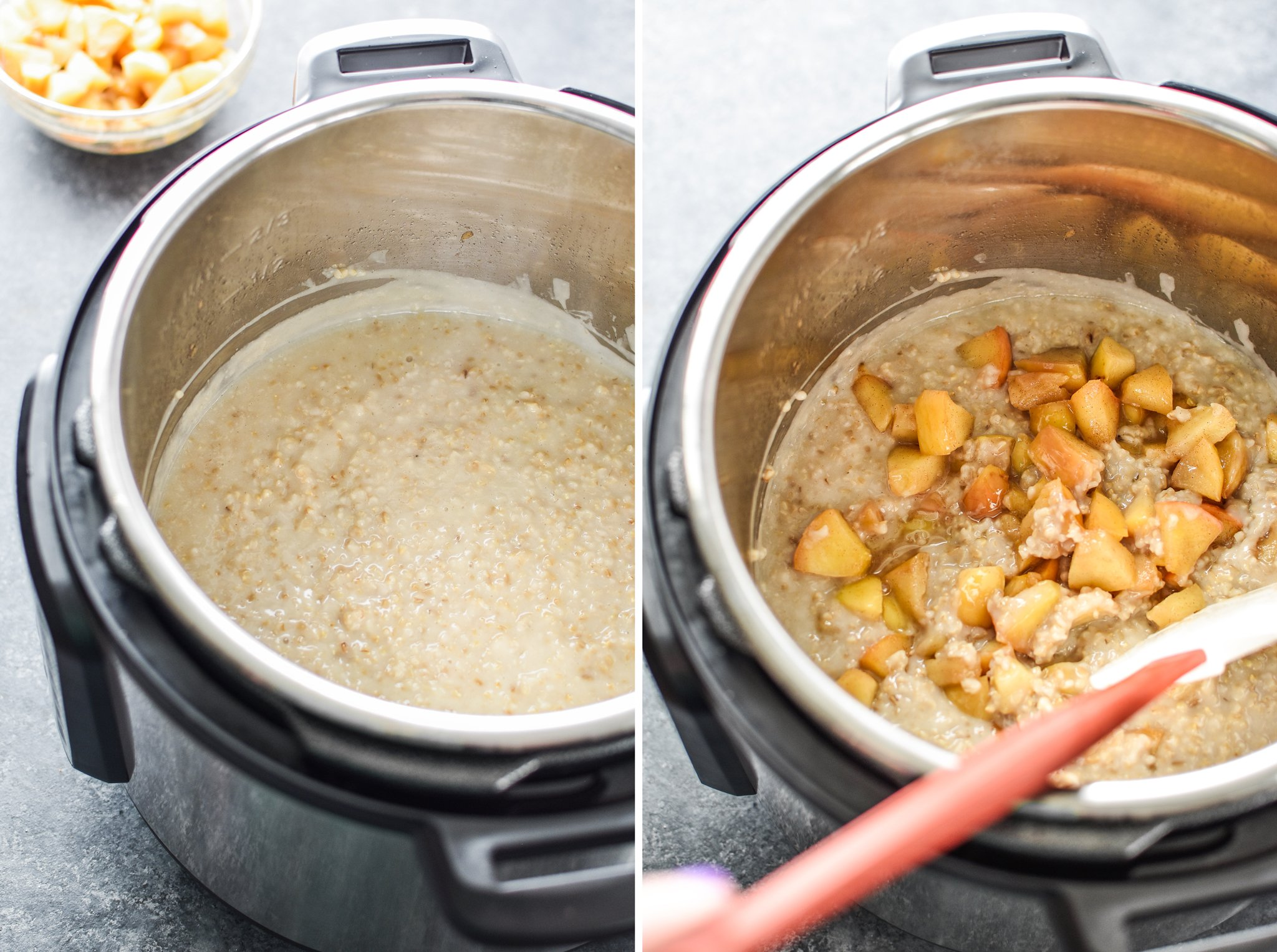 Left: Cooked oatmeal inside the instant pot. Right: Adding cooked apples to the Instant Pot oatmeal.