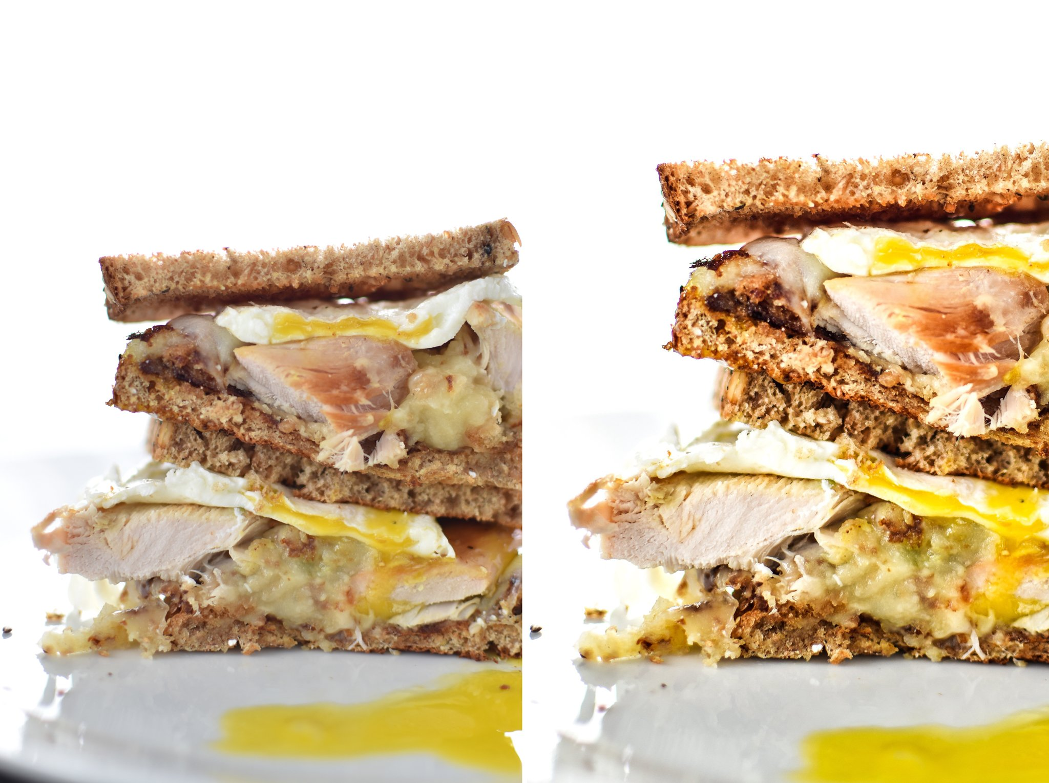 A picture of a sandwich cut in half, the left is unedited and the right is with edits.