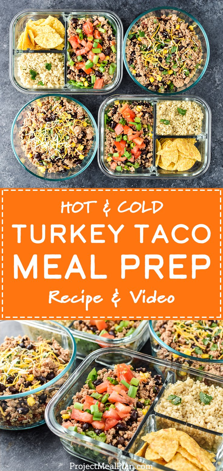 Long pin for the Hot & Cold Turkey Taco Meal Prep with Recipe and Video