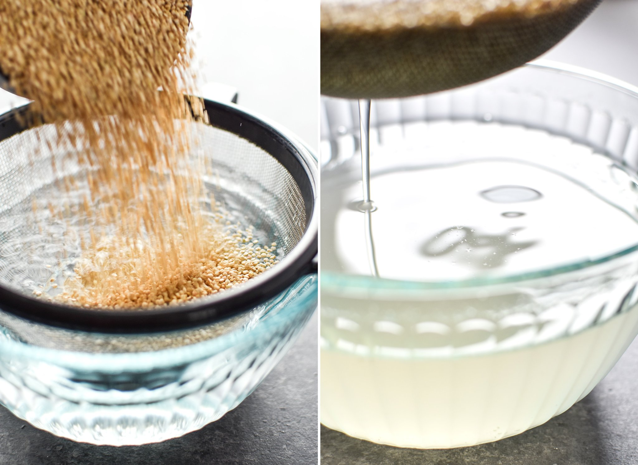 Two photos; Left- quinoa being poured into a fine mesh strainer for rinsing. Right- Quinoa and strainer being lifted out of the bowl of water leaving cloudy water behind.