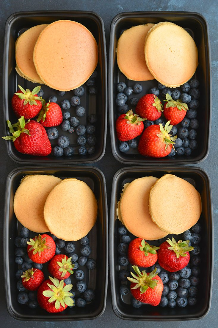 Meal prepped pancakes with berries.