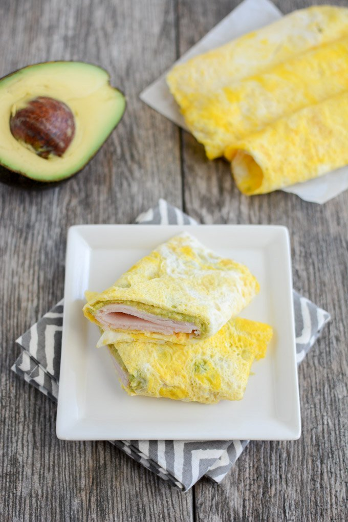 Egg wraps with turkey and avocado.