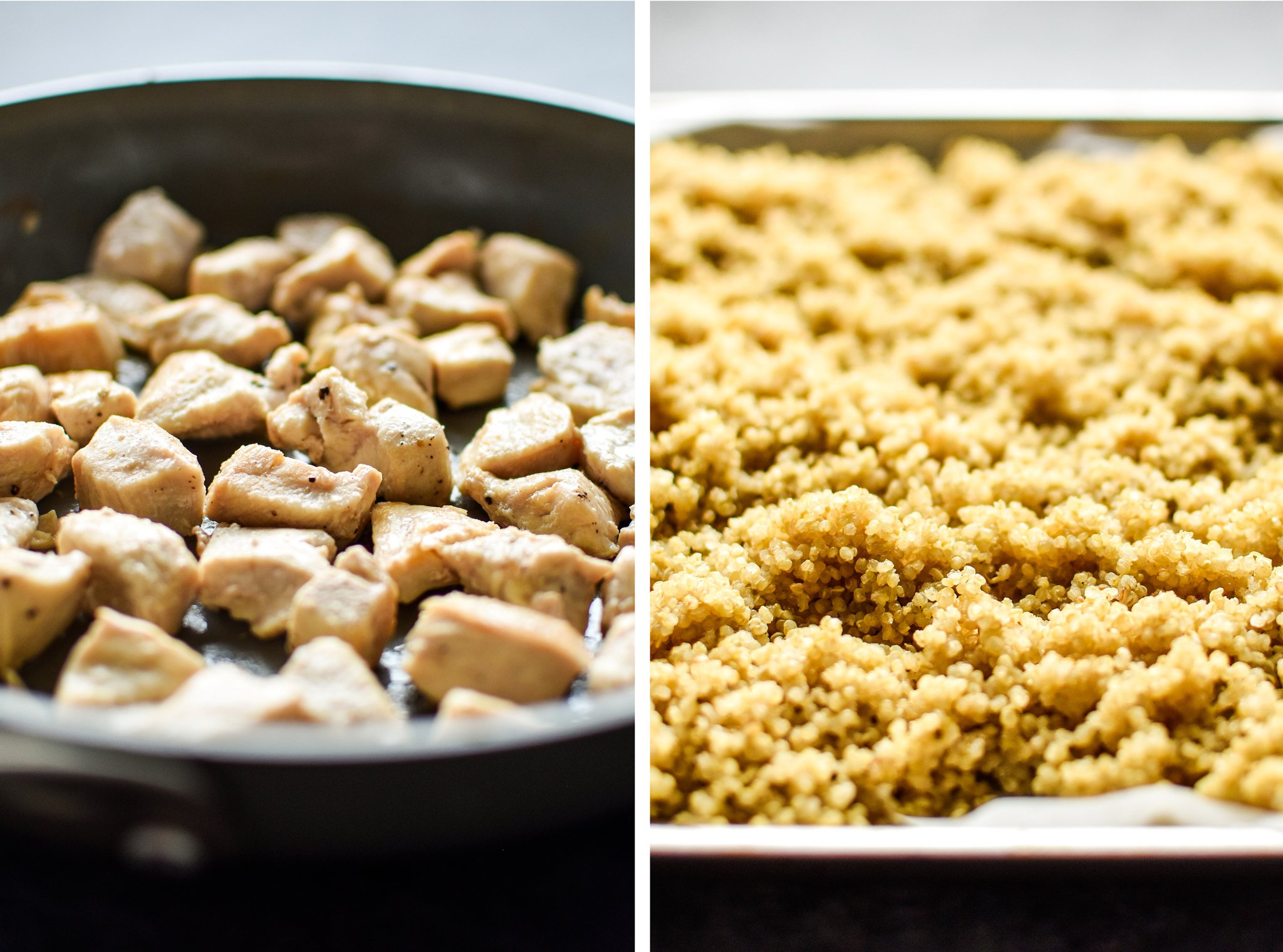 Left: Cooked chicken in a non stick pan. Right: Cooked quinoa cooling on a baking sheet.