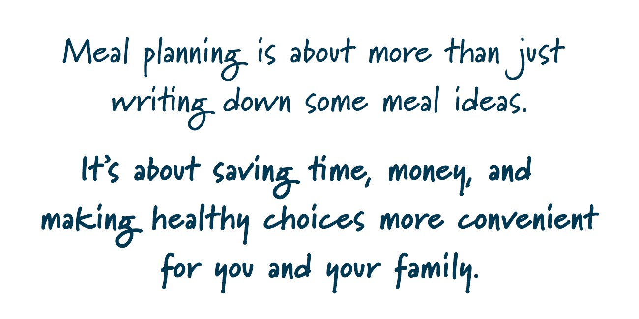 "Words describing what meal planning is about. ""Meal planning is about more than just writing down some meal ideas. It's about saving time, money and making healthy choices more convenient for you and your family."""
