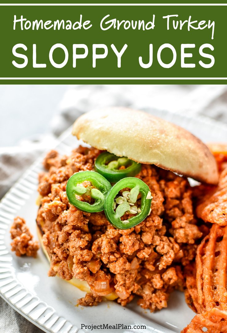 These are my Favorite Homemade Ground Turkey Sloppy Joes - The perfect main dish to make ahead and reheat on a busy weeknight - plus the whole family will love it! - ProjectMealPlan.com #easydinner #weeknightdinneridea #sloppyjoes #groundturkey #dinnerideas