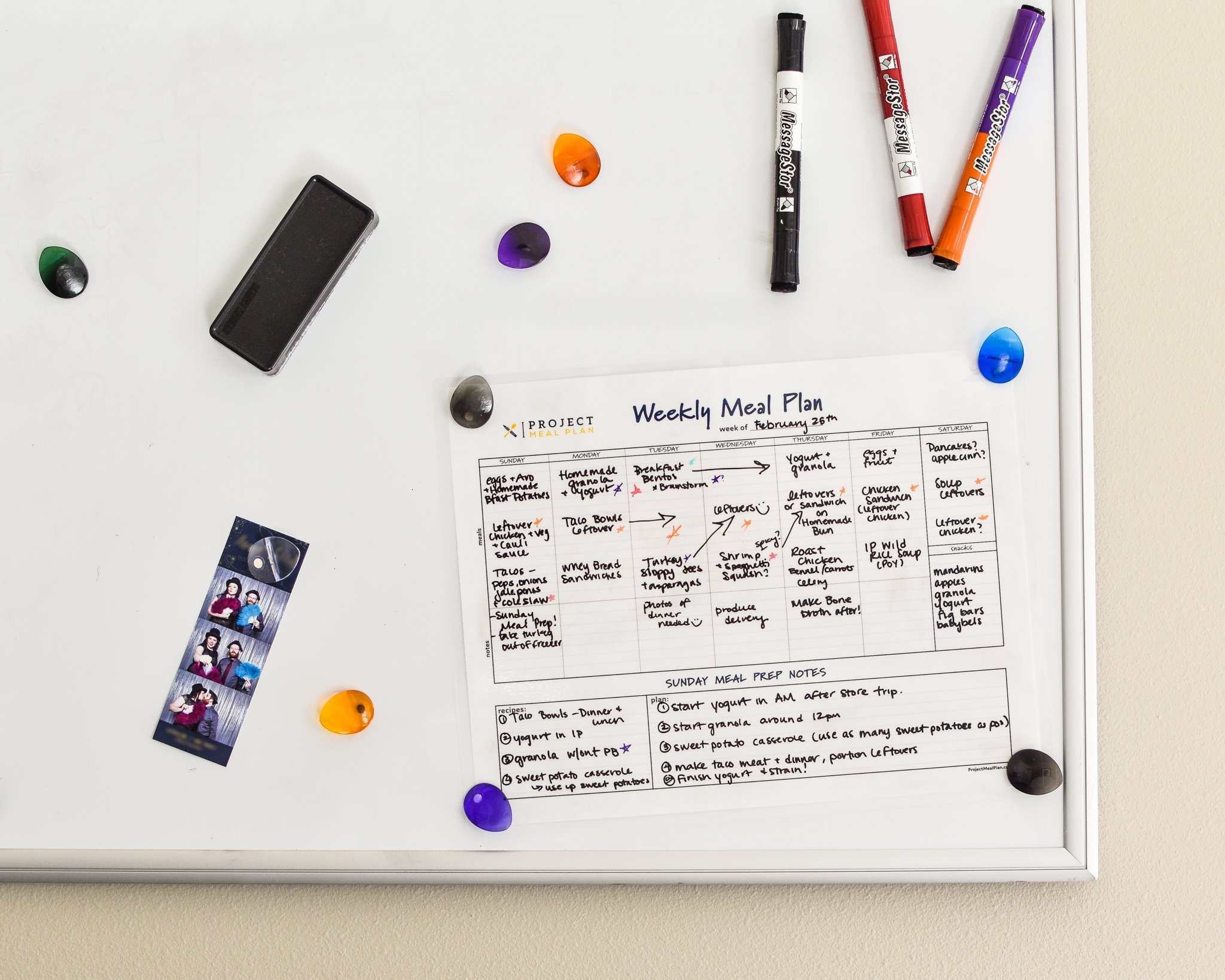 Weekly Meal Planner on a whiteboard with magnets and dry erase markers.