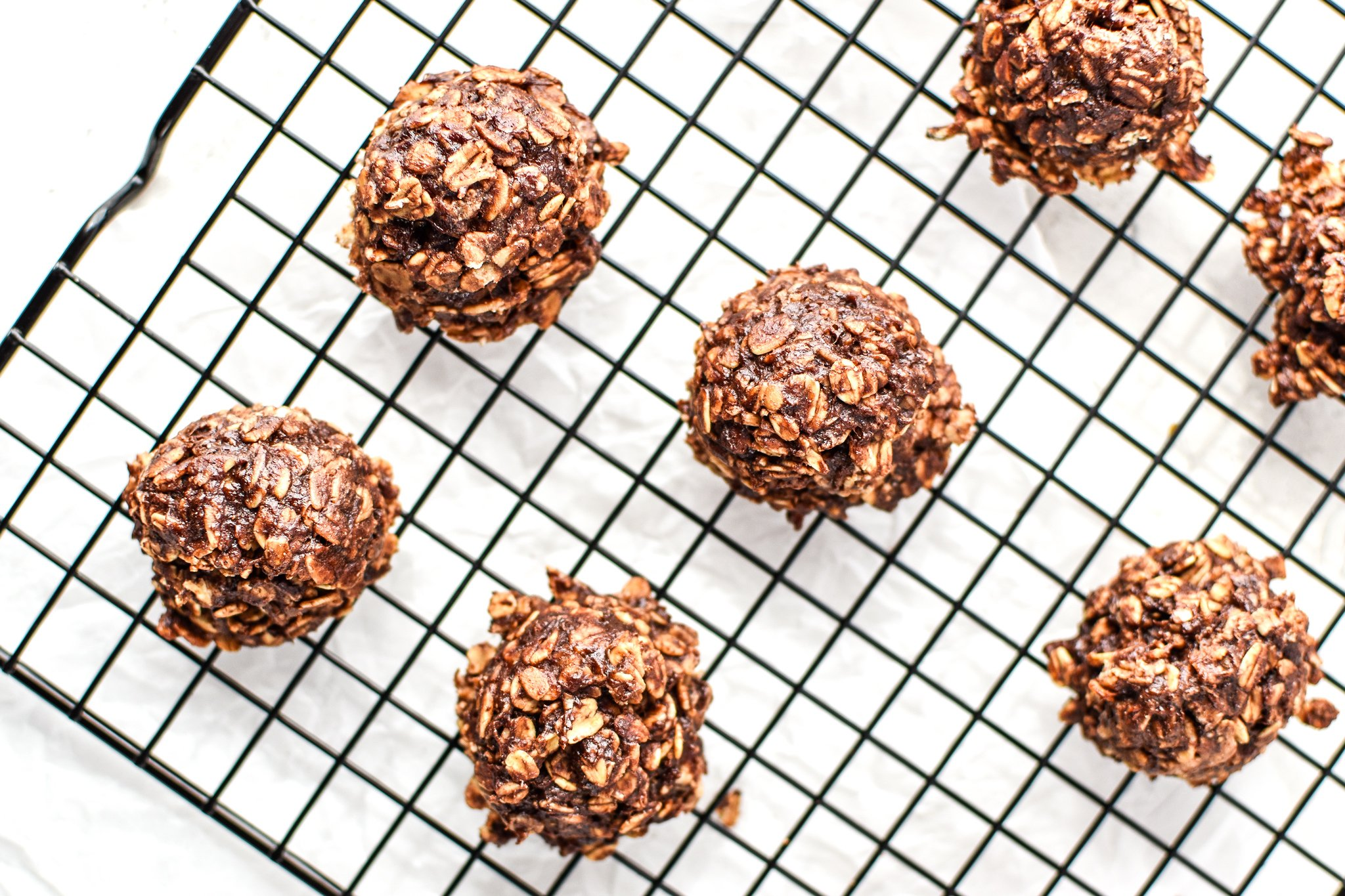 Banana Chocolate Oatmeal Cookie Mounds just baked and cooling on a cooling rack.