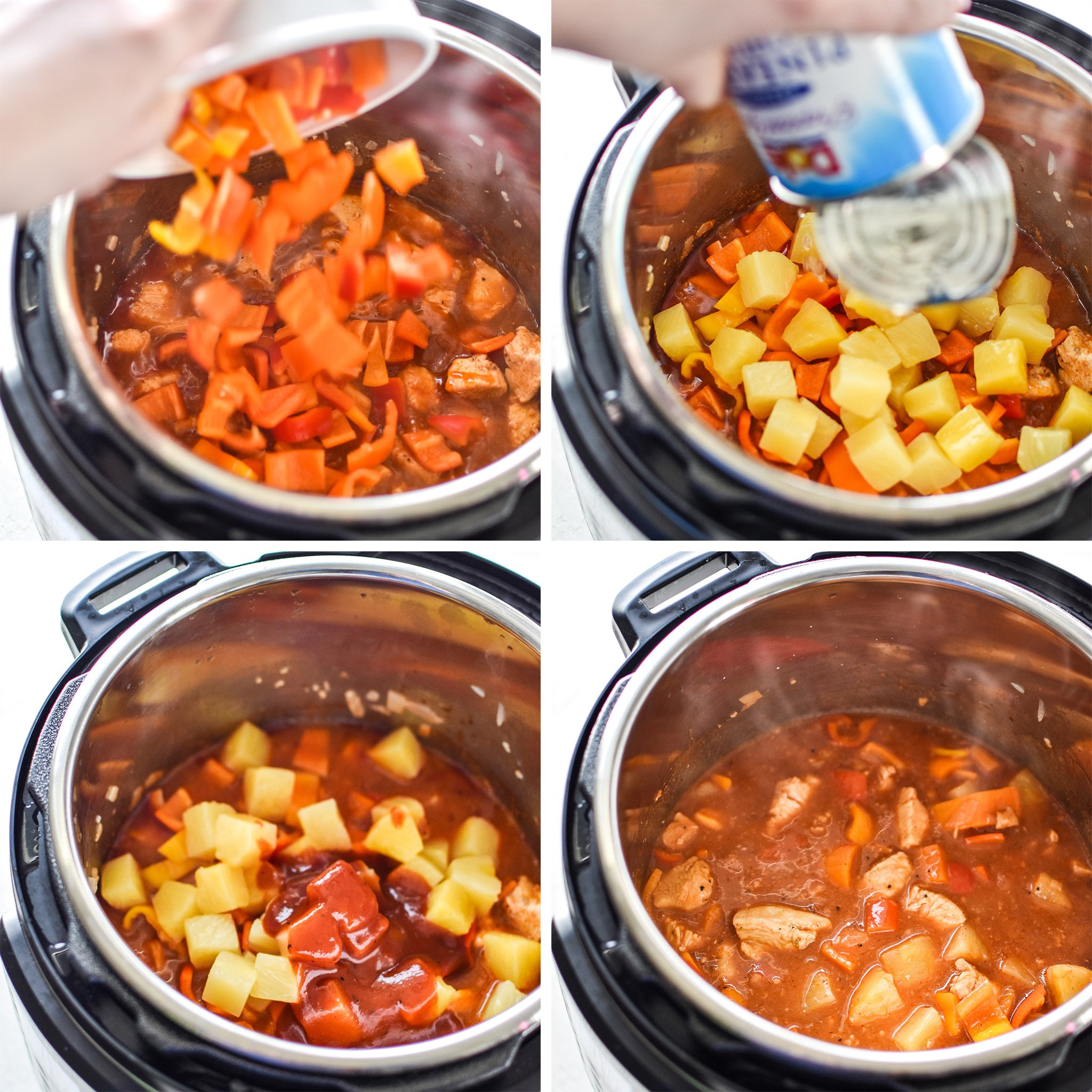 Step by step photos of the Sweet Ginger BBQ Chicken Meal Prep being made in the Instant Pot.