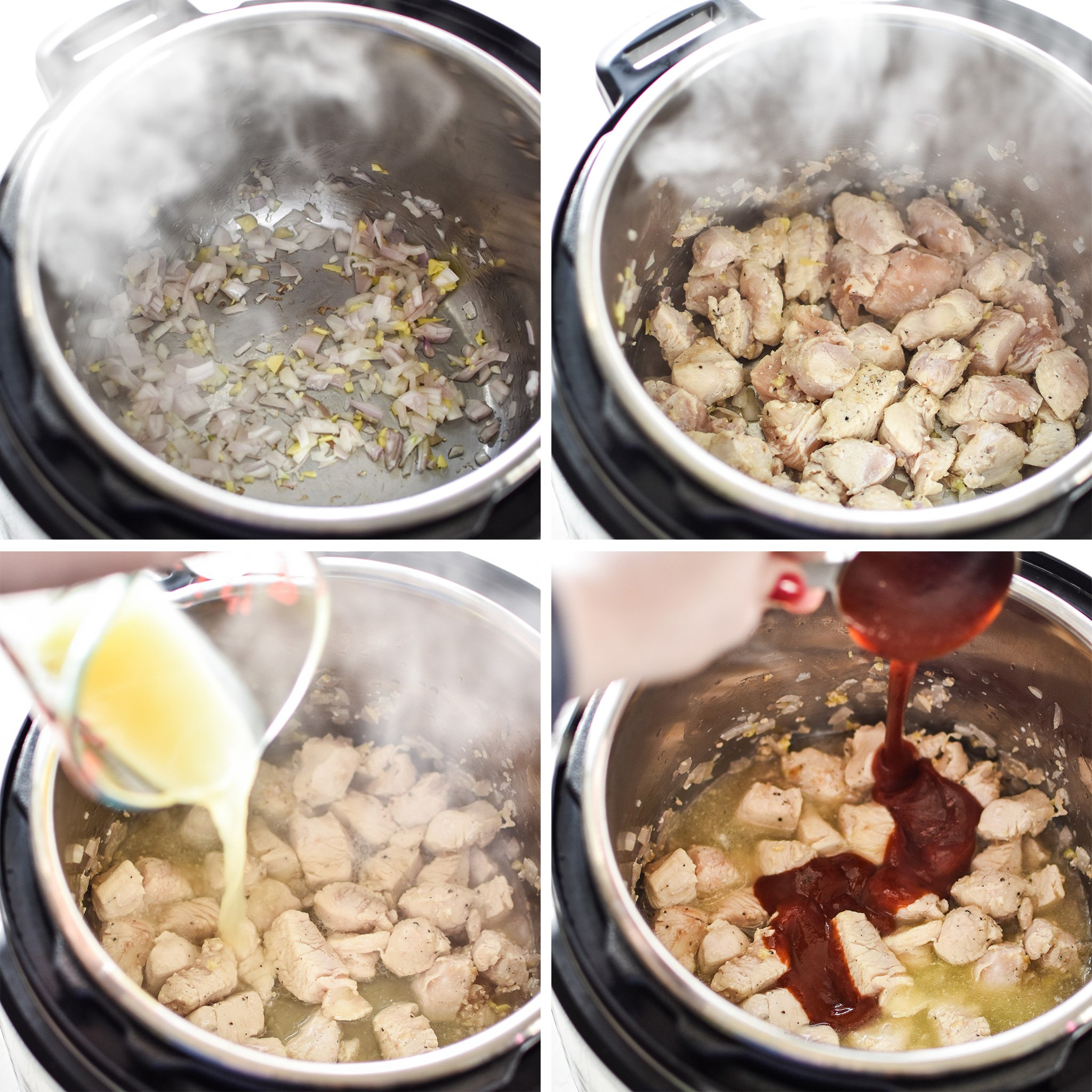 Four photos of the first steps to make the Sweet Ginger BBQ Chicken.