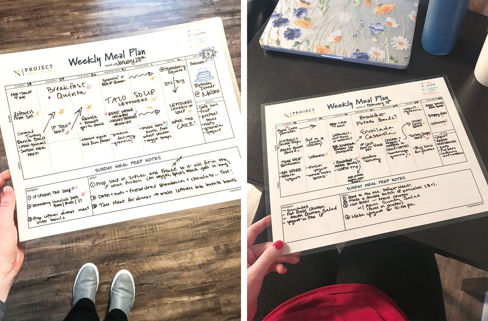 Examples of using the meal planner to plan the week's meals.
