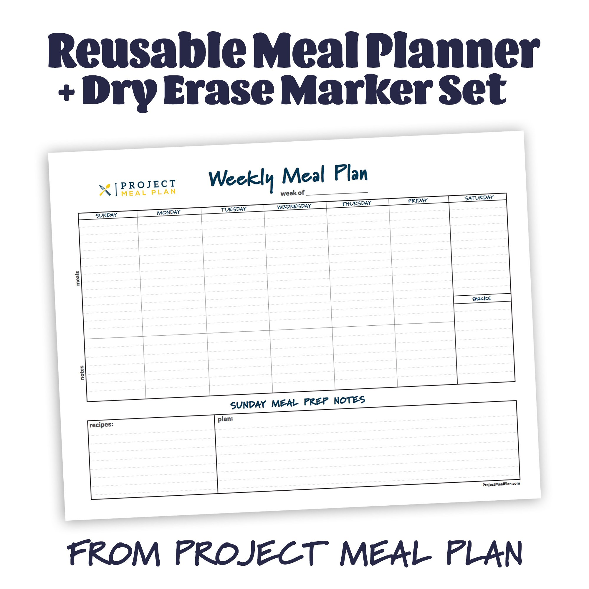 "An image showing the meal planner and title, ""Reusable Meal Planner + Dry Erase Marker Set From Project Meal Plan"""