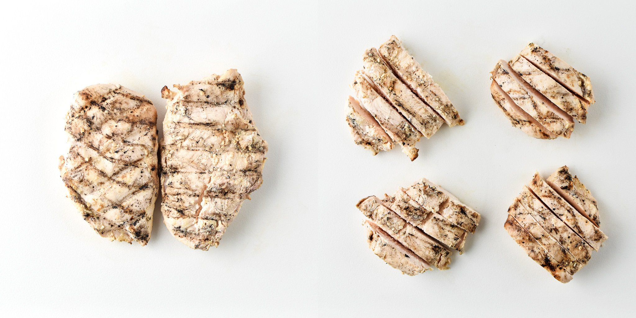 Cooked boneless skinless chicken breast before and after portioning.