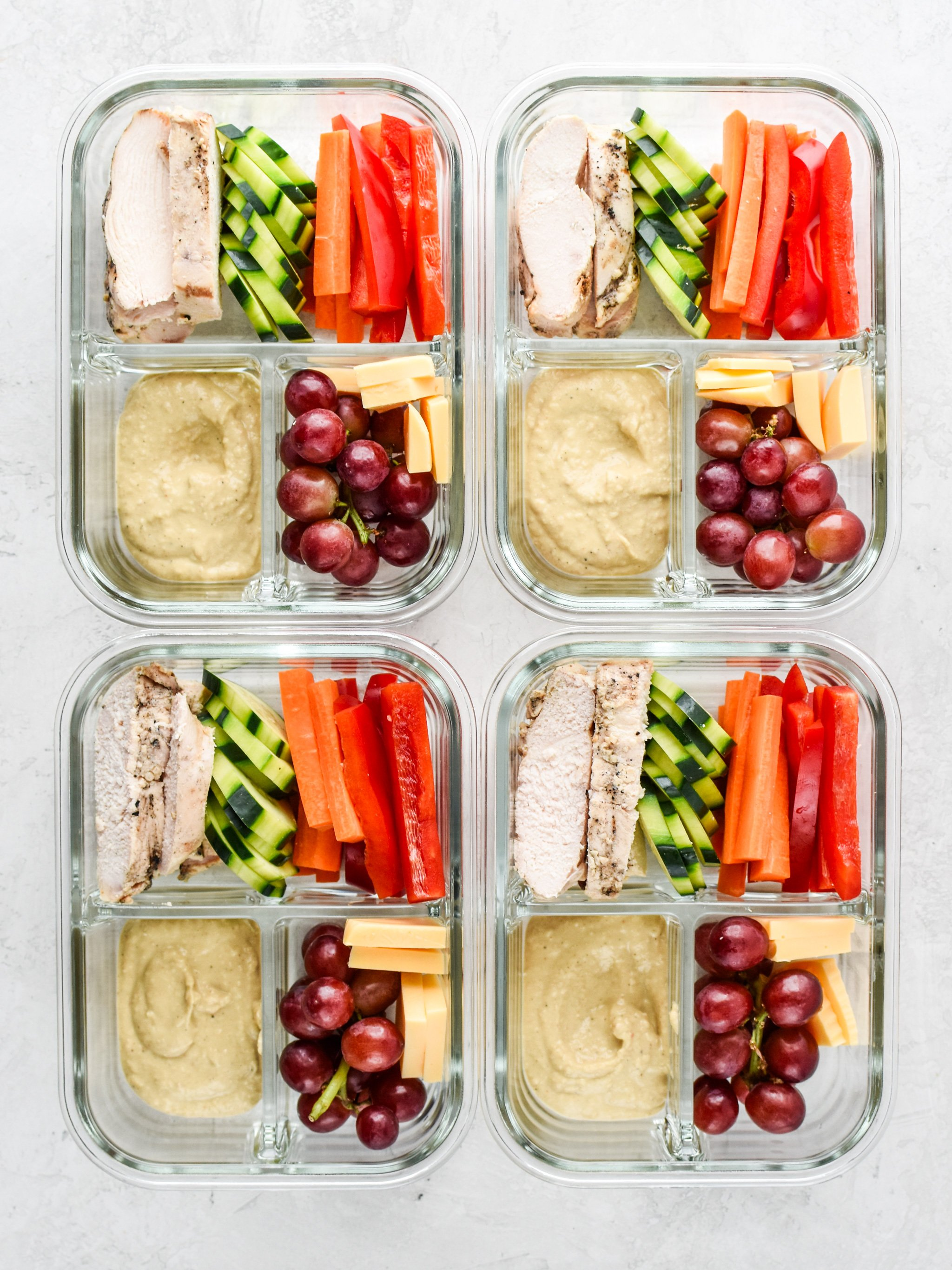 This is the chicken & hummus plate lunch meal prep is a great idea for meal prepping in hot weather.