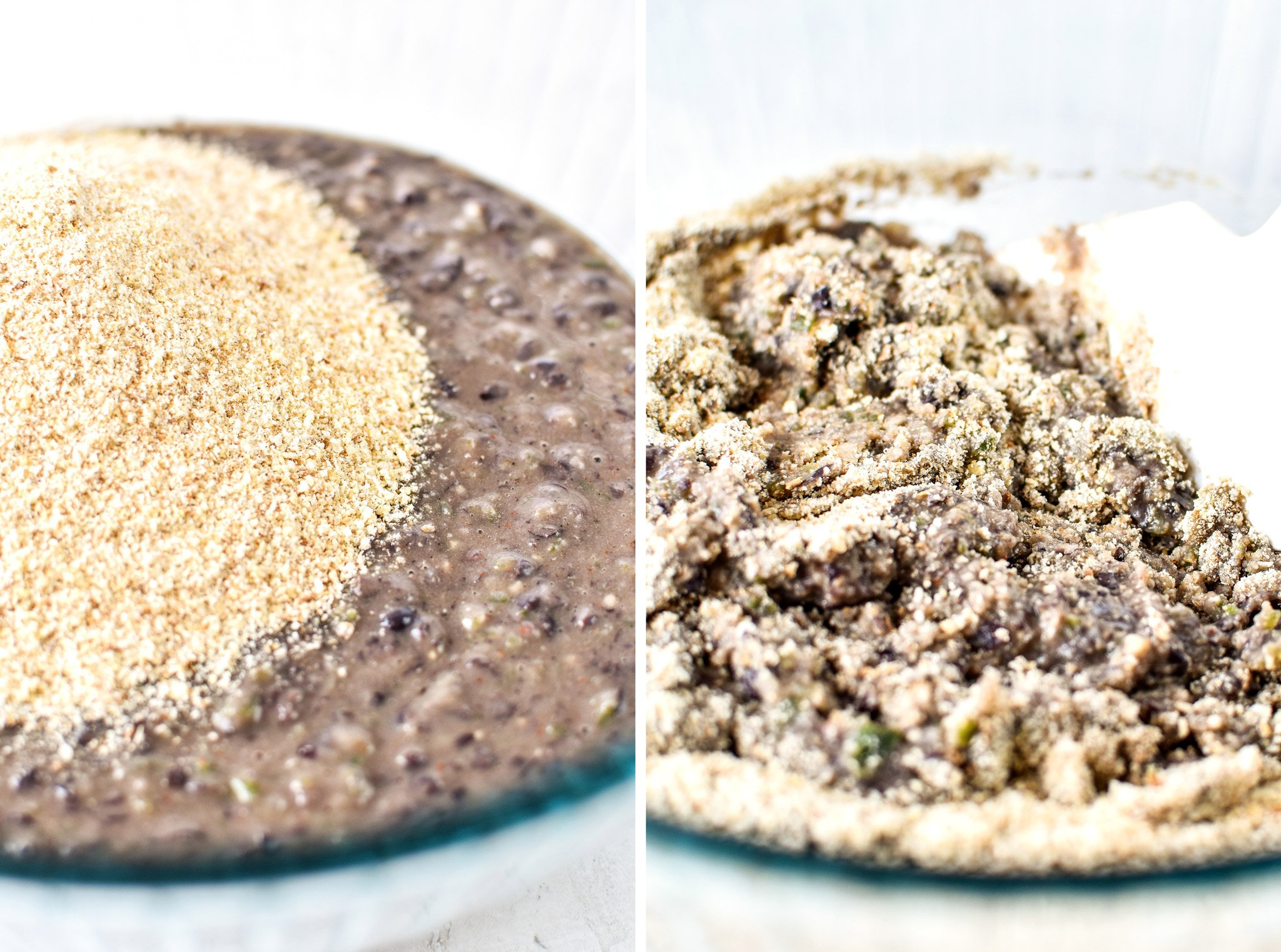 Left: Black bean burger mixture with breadcrumbs added. Right: Black bean burger mixture with the breadcrumbs being stirred in.